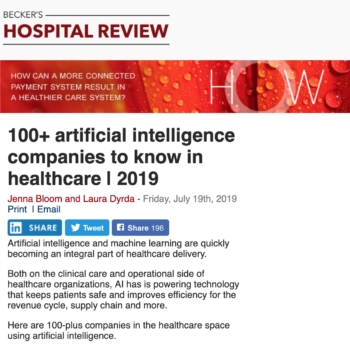 100+ artificial intelligence companies to know in healthcare | 2019 2019-07-26 09-11-56